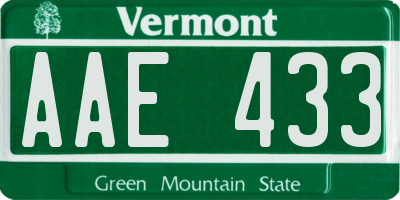 VT license plate AAE433
