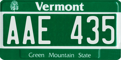 VT license plate AAE435