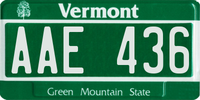 VT license plate AAE436