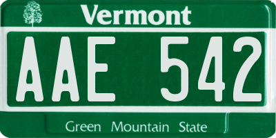 VT license plate AAE542