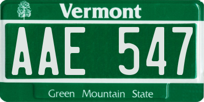 VT license plate AAE547