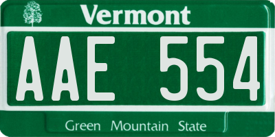 VT license plate AAE554