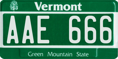 VT license plate AAE666