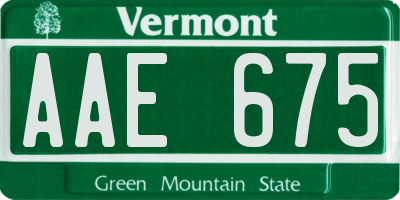 VT license plate AAE675