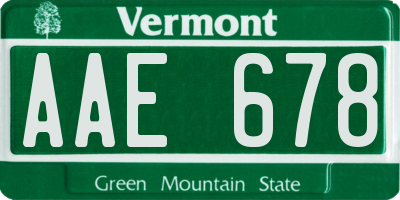 VT license plate AAE678