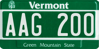 VT license plate AAG200