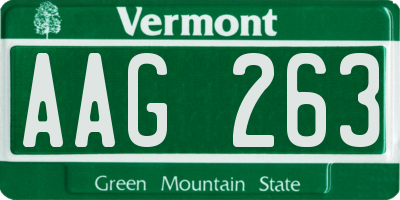 VT license plate AAG263