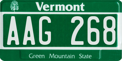VT license plate AAG268