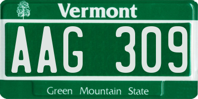 VT license plate AAG309