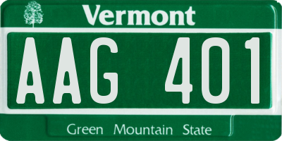 VT license plate AAG401