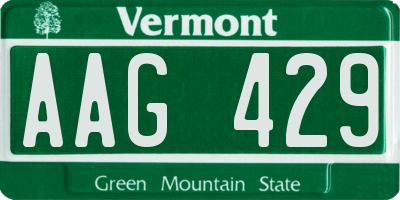 VT license plate AAG429