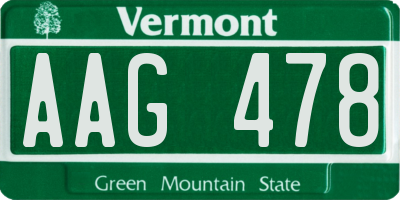 VT license plate AAG478