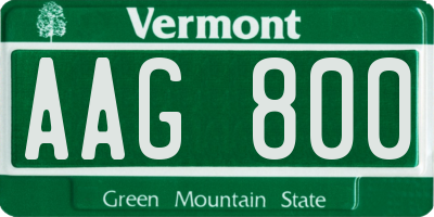 VT license plate AAG800