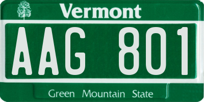 VT license plate AAG801