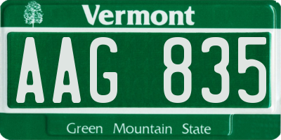 VT license plate AAG835