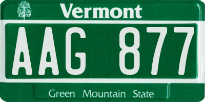 VT license plate AAG877