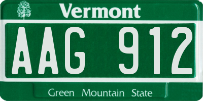VT license plate AAG912