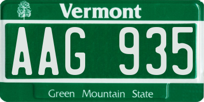 VT license plate AAG935