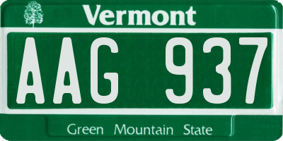 VT license plate AAG937