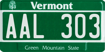 VT license plate AAL303
