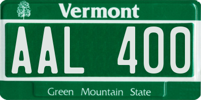 VT license plate AAL400