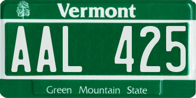 VT license plate AAL425