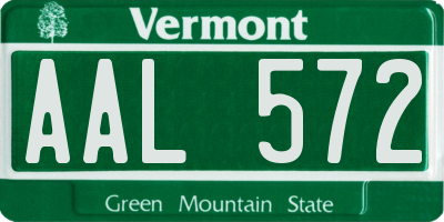 VT license plate AAL572