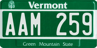 VT license plate AAM259