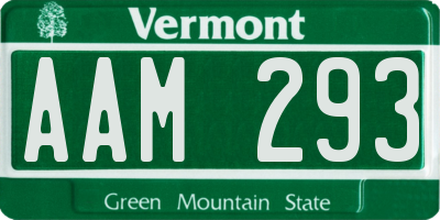 VT license plate AAM293