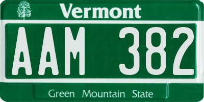 VT license plate AAM382