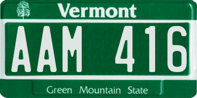 VT license plate AAM416