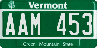 VT license plate AAM453