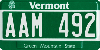 VT license plate AAM492
