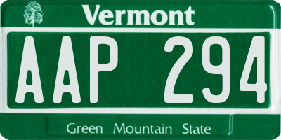 VT license plate AAP294