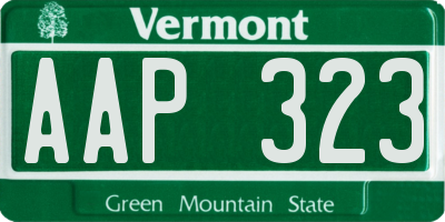 VT license plate AAP323
