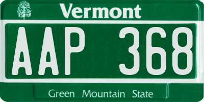 VT license plate AAP368