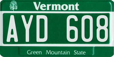 VT license plate AYD608