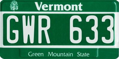 VT license plate GWR633