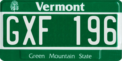 VT license plate GXF196