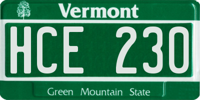 VT license plate HCE230