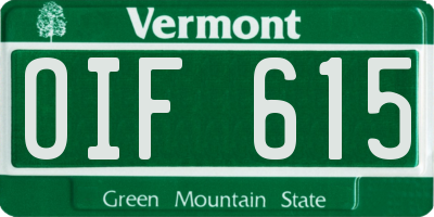 VT license plate OIF615