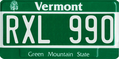 VT license plate RXL990