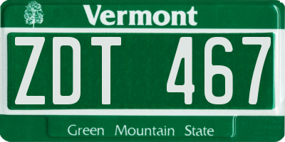 VT license plate ZDT467