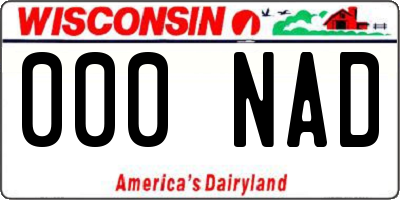 WI license plate 000NAD