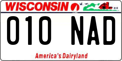 WI license plate 010NAD