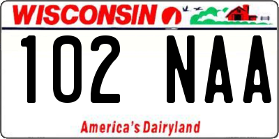 WI license plate 102NAA