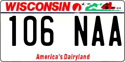 WI license plate 106NAA