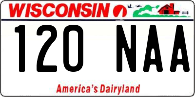WI license plate 120NAA