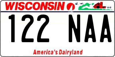 WI license plate 122NAA