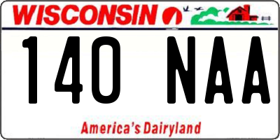 WI license plate 140NAA
